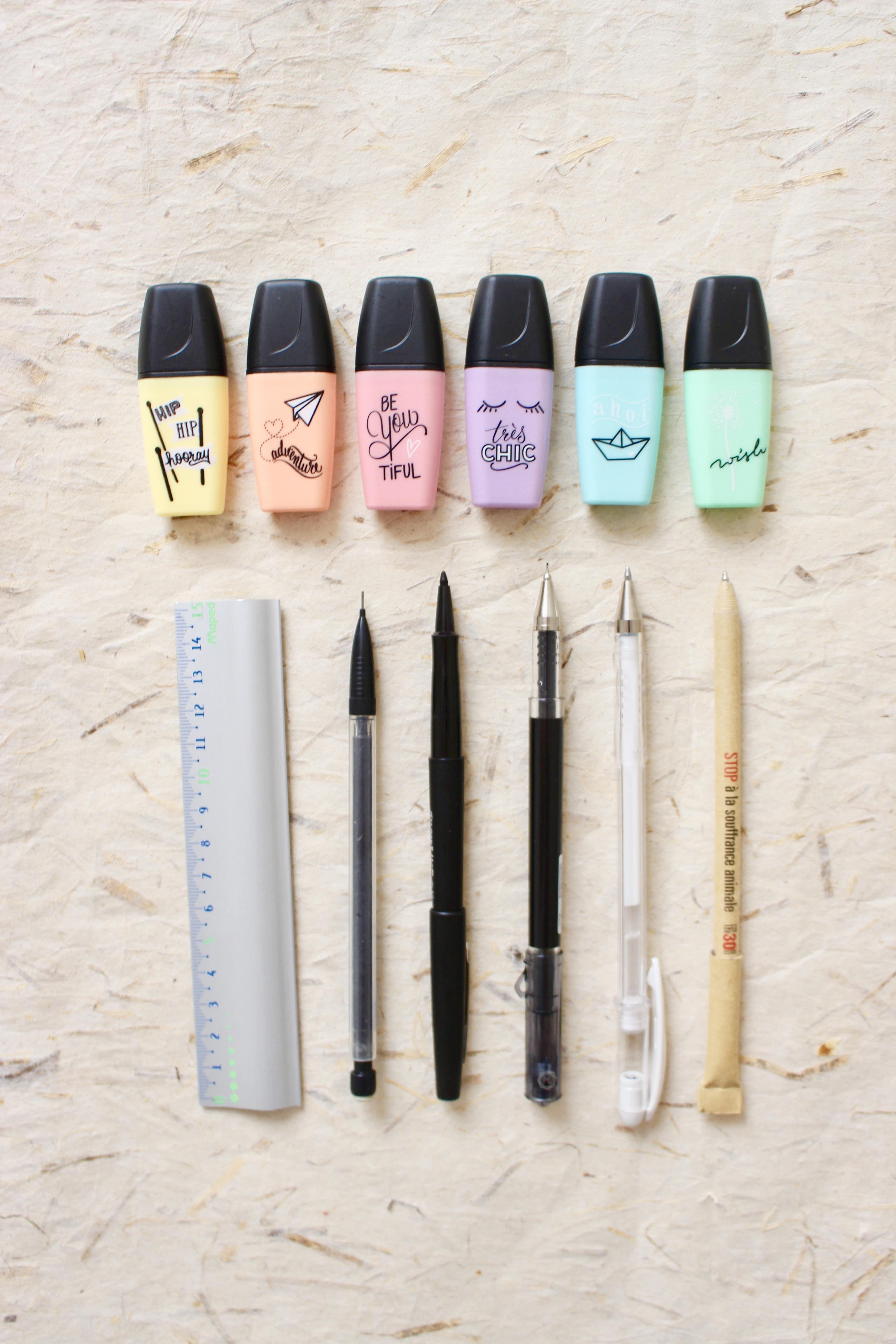 bullet-journal-exemple-materiel-stylos-feutre